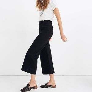 TALL Madewell Black Emmet Wide Leg Crop Jeans